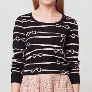 HWR Anthropologie bow intarsia print sweater XS